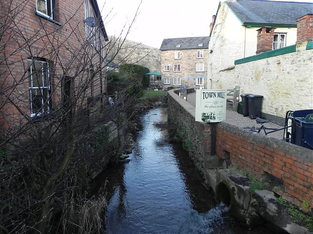 Looking downstream to Footbridge to Monmouth Terrace